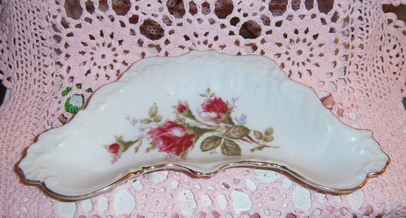 RESERVED RESERVED   Vintage, Moss Rose Trinket Dish. Roses, Serving,  Ring Holder, Rose Pattern Dish
