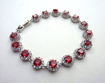 Bridal Bracelet - High Quality Red Double Round Drops Cubic Zirconias White Gold Plated Bracelet