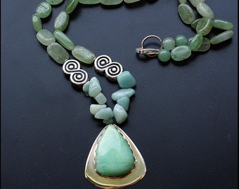 On the green wave... - Sterling silver necklace with avanturine and chrysoprase