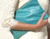 Turquoise Studded Leather Clutch