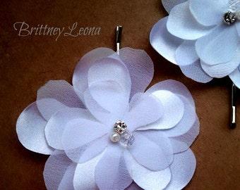 Adele- White Satin & Organza Fabric Flower Bobby Pin Set