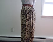 Vintage Cheetah Print Breezy Chiffon Maxi Wrap Skirt - Size Small / Med, Eclectic Chic Boho - Kate Moss Insp'd