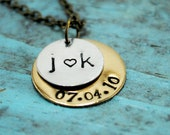 Stacked Initial and Date Necklace