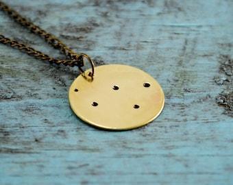 SALE Brass Constellation Coin Necklace