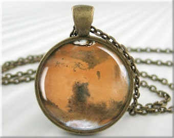 Planet Mars Pendant, The Red Planet, Martian Charm, Space Jewelry, Resin Pendant, Mars Picture Pendant, Round Bronze Pendant (308RB)