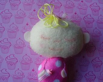 Plush Blonde Baby Doll Stuffed Soft Softie Plushie Art Doll Ooak Christmas Birthday Girl Gift Rag Doll