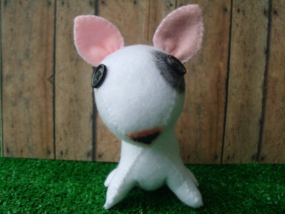 RESERVED Cute Bull Terrier Dog Plush Plushie Softie Stuffed Animal Puppy