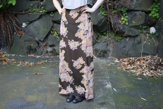 vintage 80s 90s ZEN DYNASTY GEISHA silk layerd crane bird print maxi skirt size M