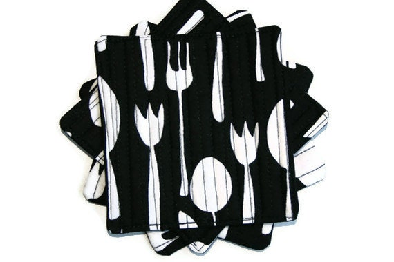 Flatware in Black Coasters - Set of 4 - Quilted Fabric Coasters