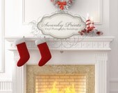6ft x 7ft Vinyl Photography Backdrop / Custom Photography Prop / White Christmas Fireplace