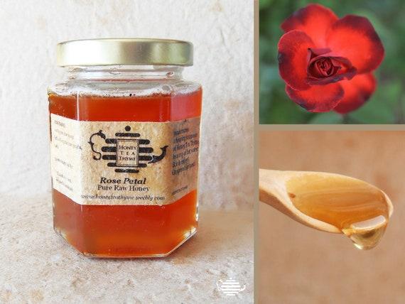 Pure Raw Honey Tea organic ROSE PETAL flavored 8 OZ. Summer ice honey tea or warm winter tea.