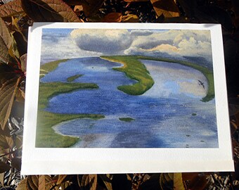 Watercolor Notecard - Ocean Cloud Earth Picture on Card with Verse