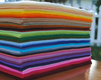 "12"" x 18"" Wool Blend, Felt Sheets, 6 pieces, Your Choice of Colors"