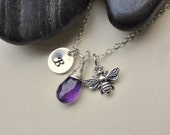 Bumble Bee necklace, Initial stamped charm, STERLING SILVER, purple Amethyst or custom gemstone, colorful jewelry, summer, personalized gif