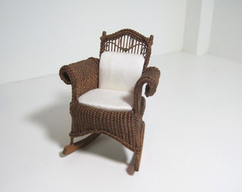 MADE TO ORDER Miniature Wicker Rocking Chair for Dollhouses 1""