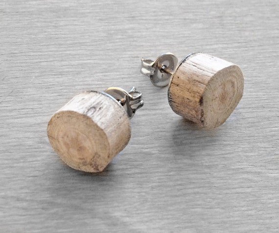 Driftwood Stud Earrings - Wood Faux Plug Fake Gauge with Surgical Steel backs