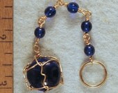 Cobalt Blue Wire Wrapped Key Chain with Czech Glass Beads