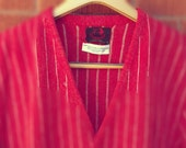SALE - Mens Vintage Sweater Red Cardigan Red Bull Shop Striped Large 1980s