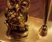 Vintage Detailed Owl and Pen Holder Desk Decoration brass
