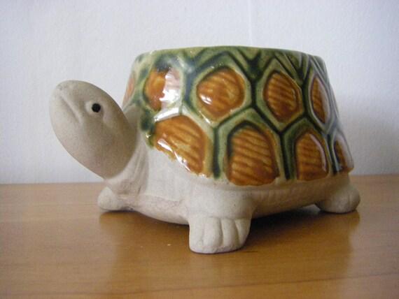 Stoneware Turtle Planter