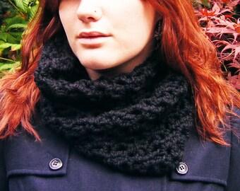Crochet Cowl Black Unisex Chunky Neckwarmer Scarf