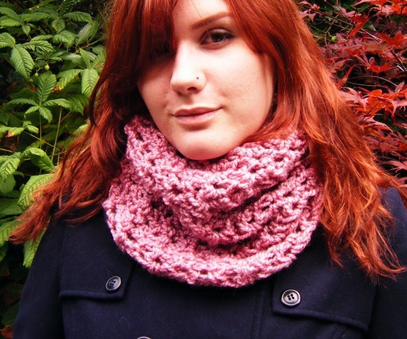 Chunky Crochet Cowl Scarf Pink Autumn Accessory