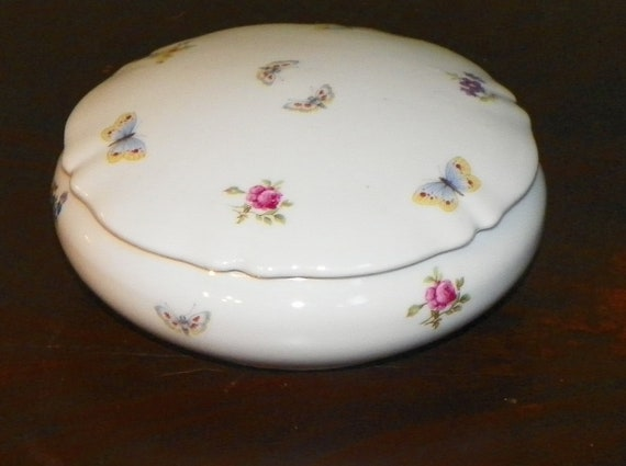Antique France Limoges Dresser Box Jewelry Covered Porcelain France Floral Flowers Butterflies