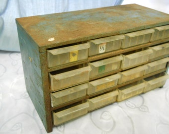 metal industrial 16 drawer tool cabinet vintage steampunk home decor
