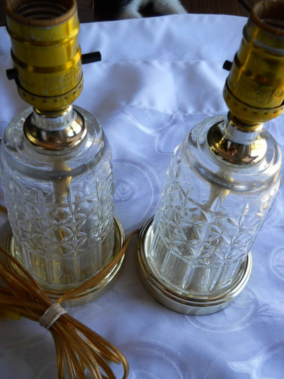 Vintage Crystal glass lamps Hollywood Regency Pair