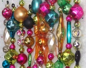 Vintage MIni Mercury Glass Bead Garland Icicle Tree Ornaments Bright Candy Colored