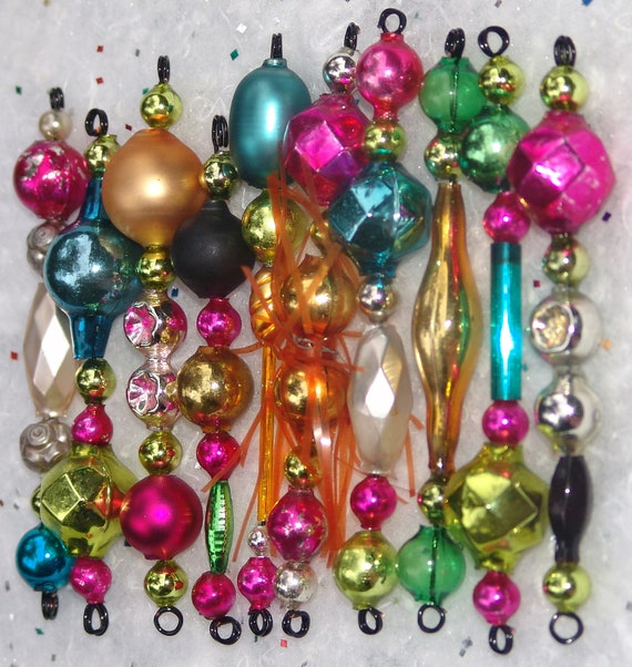 Vintage Mini Mercury Glass Bead Garland Icicle Tree Ornaments