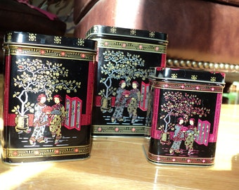 3 Vintage Asian Style Metal Tins,  Vintage Storage with Asian Inspired Covered Tin Boxes Decorative and Functional Tins in Good Condition