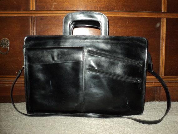VINTAGE LEATHER BRIEFCASE or Vintage Satchel made of  Solid Black Leather
