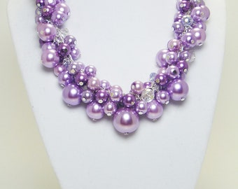 RESERVED Lilac Pearl Cluster Necklace-  pearl necklace, chunky necklace, lilac pearl necklace, lilac bridal jewelry, bridesmaid jewelry