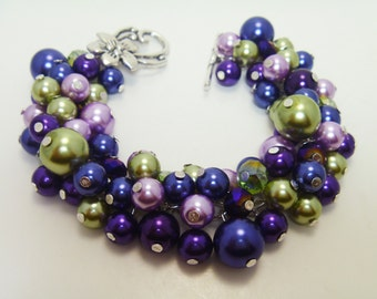 Navy, Purple, Green Pearl Cluster Bracelet, Chunky Bracelet, Pearl Bridal Jewelry, Wedding Pearl Jewelry, Navy Bracelet, Purple Bracelet