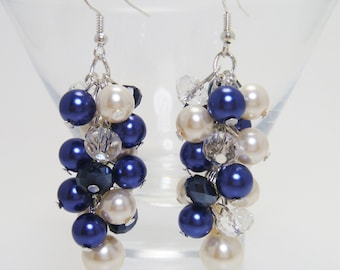 Ivory and Navy Cluster Earrings, Navy Bridal Jewelry, Navy Pearl Earrings, Bridal Earrings, Chunky Earrings, Wedding Jewelry, Pearl Custer