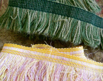 Green, Pink and Yellow Soft Cotton Fringe Trim