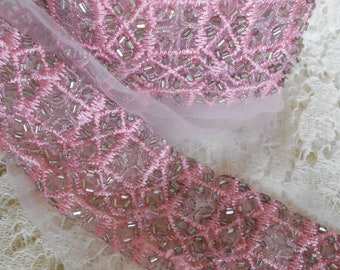 Pink Stitched Beaded Trim