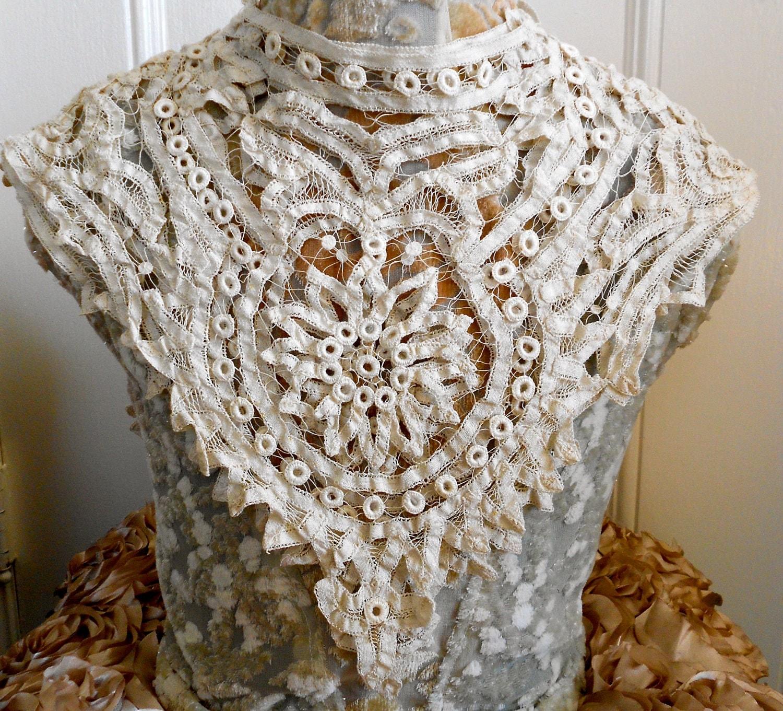 Victorian Ecru Battenburg Lace Dress Bodice