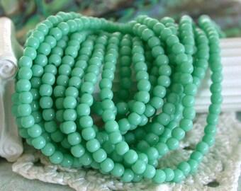 3mm Druks, Czech Glass Druks, Round Glass Beads, Turquoise Beads, Beads, Druk Beads CZ-104