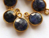 2 blue sapphire 7x10mm vermeil bezel rimmed faceted round coin pendants, charms, dangles, sequins, 1 pair, sparkling blue and gold.