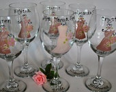Hand Painted Bridal Party Wedding Wine Glasses Wine Glass Bride Bridesmaid Wedding Favors Gifts (15.00 each)