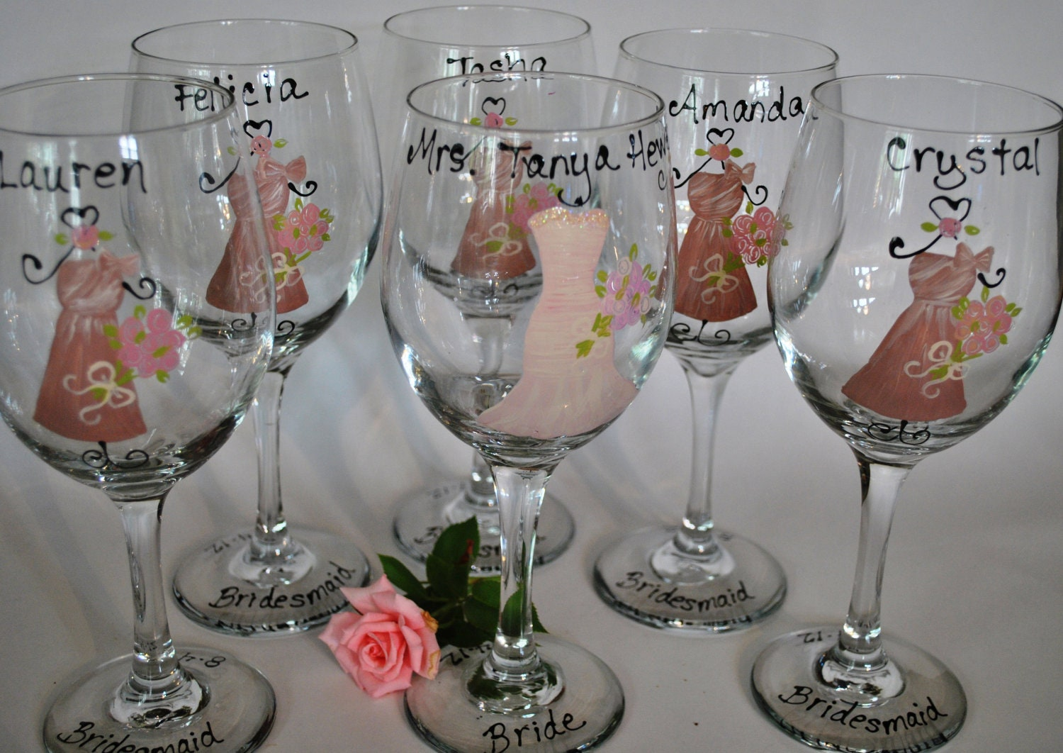 Hand Painted Bridal Party Wedding Wine Glasses By