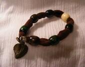 Sueded Tube WOOD Beads BANGLE Style BRACELET