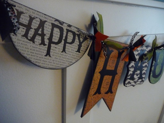 Happy HAUNTING pennant banner  --Ready to Ship