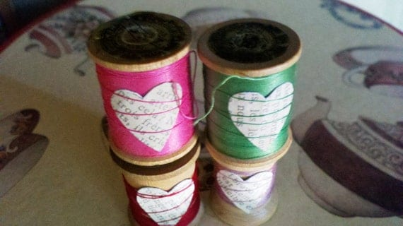 Sweet Collectible Vintage Wooden Spools With Thread and Decorated with Vintage Paper Heart - red/lavender/green/pink