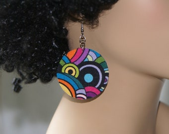 Fabric Covered Earrings- 2 Inch Circles