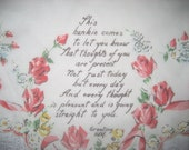Vintage Sweetheart Greeting  Hankerchief  Friendship Womens Girls Gift Pink Red Floral Flower Design Roses and Ribbon Sheer