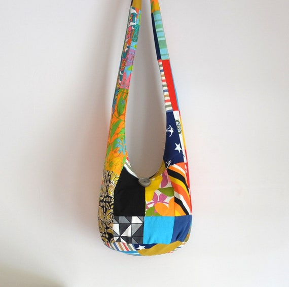 Vintage Crazy Quilt Patchwork Hobo Bag, Sling Bag, Pieced Quilt Top, Retro, Stripes, Polka Dots, Geometric, Boho Bag, Hippie Purses