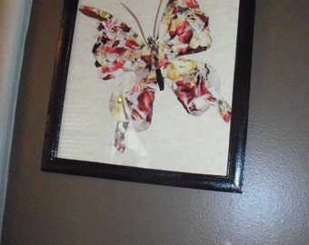 up cycled Butterfly Torn Art collage print ON SALE
